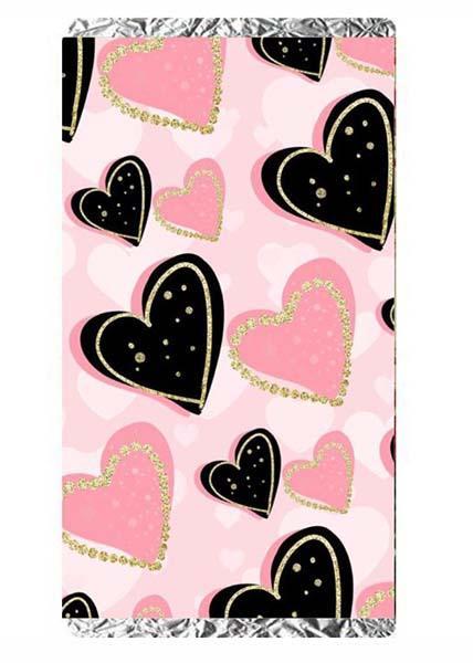 Μεγάλη Σοκολάτα Αγάπης 100 gr μαύρες και ροζ καρδιές