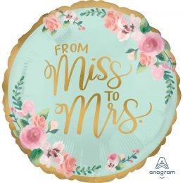 """Μπαλόνι """"From Miss to Mrs"""" 45 εκ"""