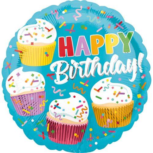 Μπαλόνι Happy Birthday cupcakes 45 εκ
