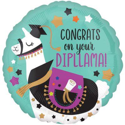 """Μπαλόνι αποφοίτησης """"Congrats on your dipllama"""" 45 εκ"""