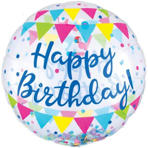 """Μπαλόνι """"Happy Birthday"""" με κονφετί 71 εκ"""