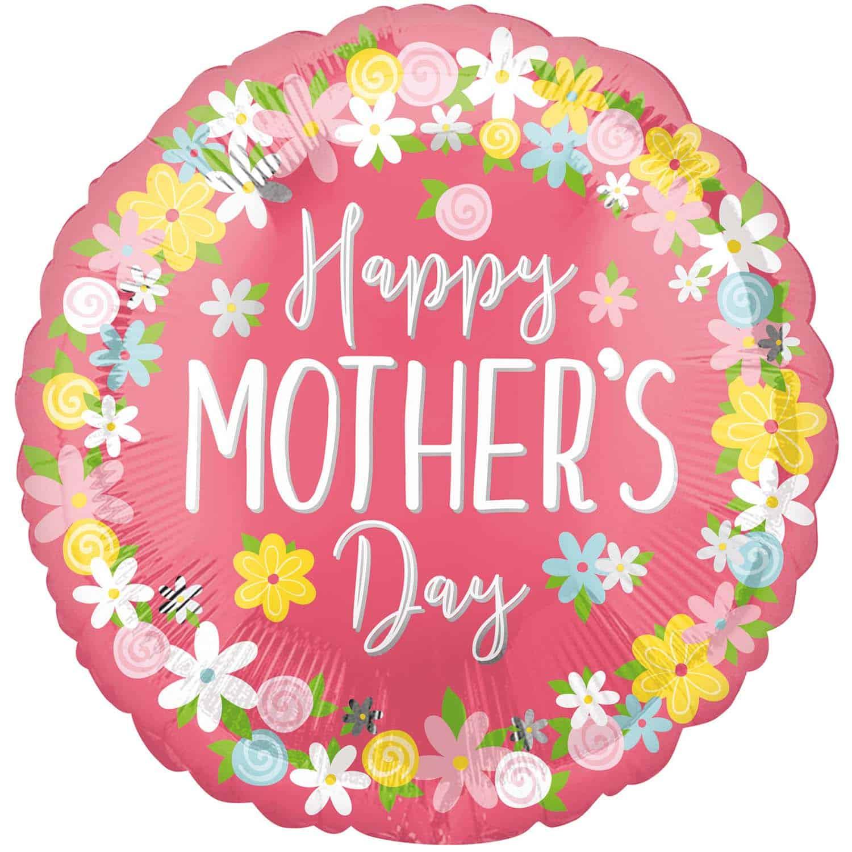 """Μπαλόνι """"Happy Mother's Day"""" φλοράλ 45 εκ."""