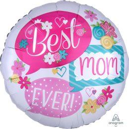 Μπαλόνι Best Mom Ever λουλούδια 71εκ