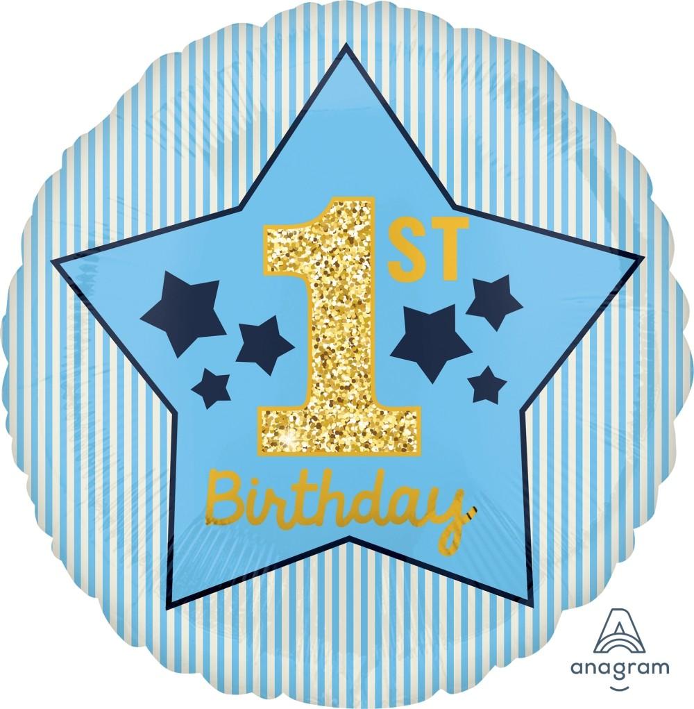 Μπαλόνι 1st Birthday Μπλε & Χρυσό 43 εκ