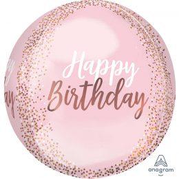 """Μπαλόνι """"Happy Birthday"""" κομφετί Rosegold ORBZ 40 εκ"""