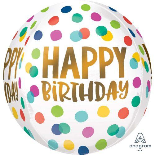 Μπαλόνι Happy Birthday πουά ORBZ 40 εκ
