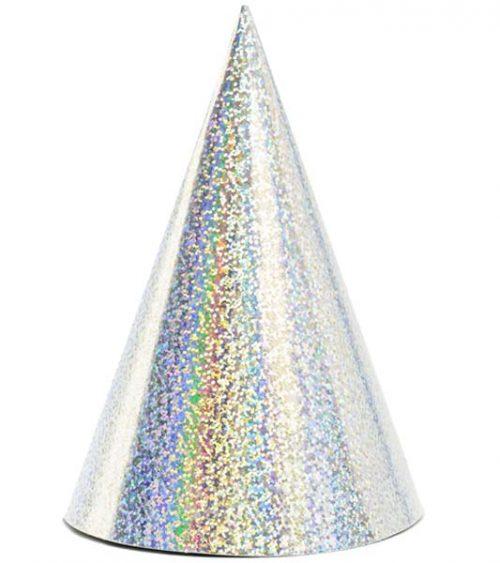 Καπελάκια χάρτινα ιριδίζοντα ασημί (6 τεμ)