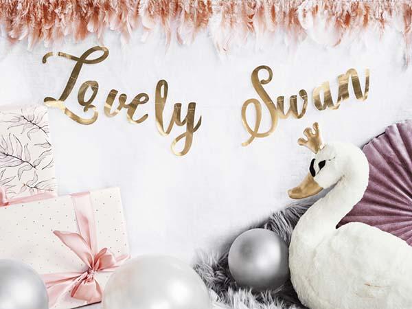 """Διακοσμητικό μπάνερ χρυσό """"Lovely Swan"""""""