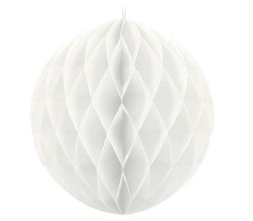 Λευκή χάρτινη διακοσμητική μπάλα 30 εκ.