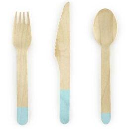 Ξύλινο σετ φαγητού μέντα ξύλινα μαχαιροπίρουνα