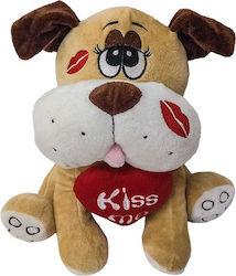 Λούτρινο σκυλάκι αγάπης με καρδιά & φιλιά
