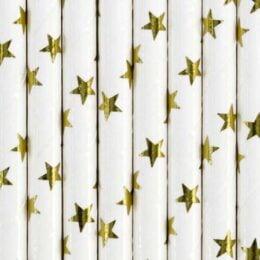 Καλαμάκια χάρτινα λευκά με χρυσά αστέρια (10 τεμ)