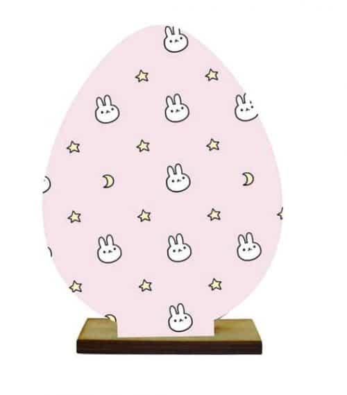 Ξύλινο διακοσμητικό αυγό με βάση (Σχέδιο 7)