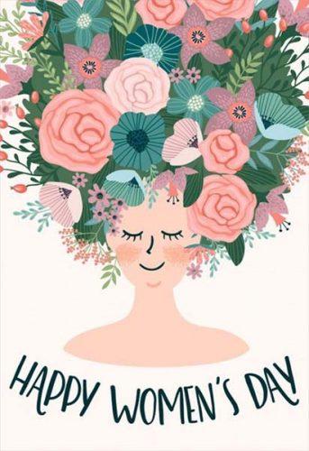 """Κάρτα """"Happy Woman's Day"""" με λουλούδια"""