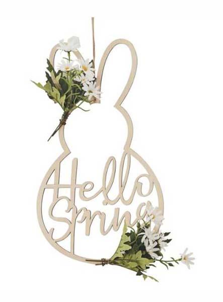 """Ξύλινο διακοσμητικό Λαγουδάκι """"Hello Spring"""""""