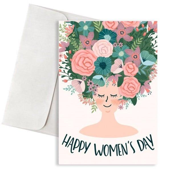 Κάρτα happy womas day με λουλούδια