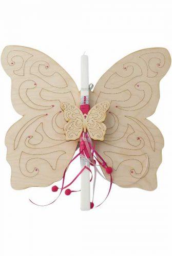 Χειροποίητη Πασχαλινή Λαμπάδα Πεταλούδα – Πινακίδα Δωματίου