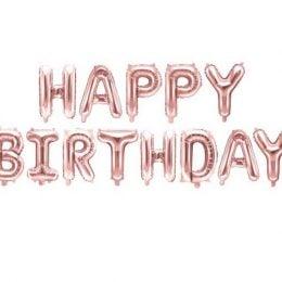 """Σετ μπαλονιών """"Happy Birthday"""" Ροζ-χρυσό"""