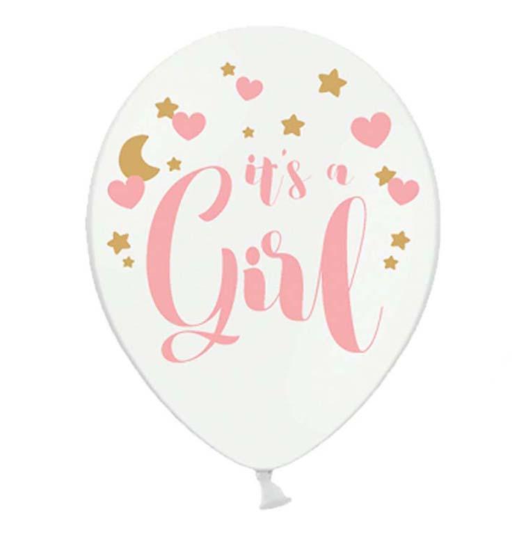 """12"""" Μπαλόνι τυπωμένο """"It's a girl"""" (6 τμχ)"""