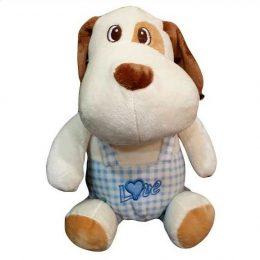Λούτρινο σκυλάκι με γαλάζιο φορμάκι 35 εκ.