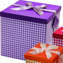 Μοβ καρό μεγάλο κουτί δώρου 30 εκ.