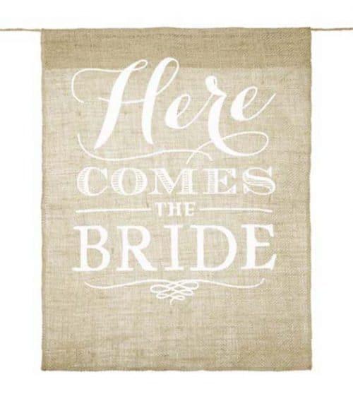 """Πινακίδα γάμου """"Here comes the bride"""""""