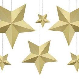 Διακοσμητικά Αστέρια χρυσά (6 τμχ)