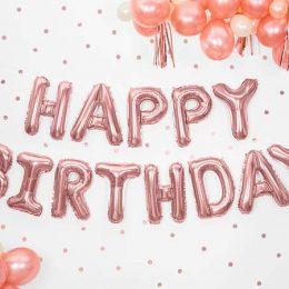 """Σετ μπαλονιών """"Happy Birthday"""" Ροζ-χρυσό (13 τεμ)"""