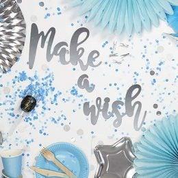 """Διακοσμητικό μπάνερ ασημί """"Make a wish"""""""