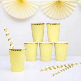 Ποτήρια πάρτυ κίτρινο με χρυσό (6 τεμ)