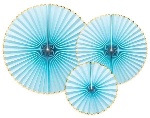 Σετ χάρτινες βεντάλιες ανοιχτό γαλάζιο (3 τεμ)