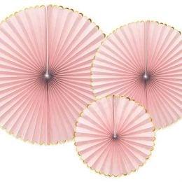Σετ χάρτινες βεντάλιες ανοιχτό ροζ (3 τεμ)