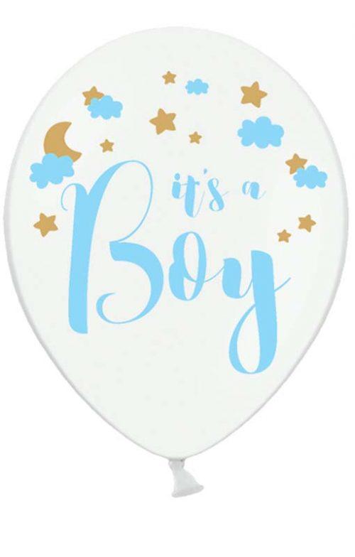 """12"""" Μπαλόνι τυπωμένο """"It's a boy"""" (6 τμχ)"""
