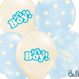 """12″ Μπαλόνι τυπωμένο """"It's a boy"""" (6 τμχ)"""