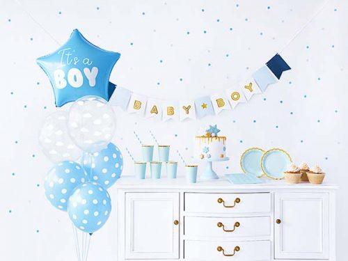 """1 x Μπάνερ """"Baby Boy 6 x ποτηράκια γαλάζια με χρυσό γείσο 6 x πιατάκια γαλάζια με χρυσό γείσο 10 x καλαμάκια ριγέ γαλάζια 20 x χαρτοπετσέτες γαλάζιες 1 x μπαλόνι foil """"It's a boy"""" 5 x λάτεξ μπαλόνια διάφορα σχέδια"""