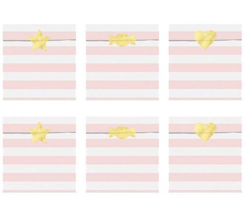 Σακουλάκια δώρου ριγέ ροζ (6 τμχ)