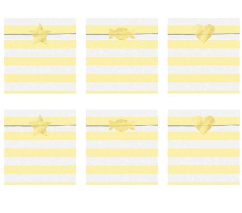Σακουλάκια δώρου ριγέ κίτρινα (6 τμχ)