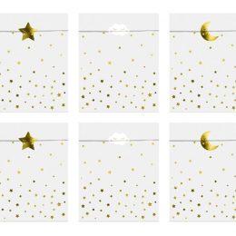 """Σακουλάκια δώρου με αυτοκόλλητα """"Little Star"""" (6 τμχ)"""