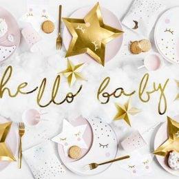 """Διακοσμητικό μπάνερ χρυσό """"Hello Baby"""" 70 εκ."""