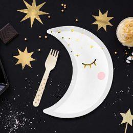 Πιάτα πάρτυ Φεγγάρι λευκό (6 τμχ)
