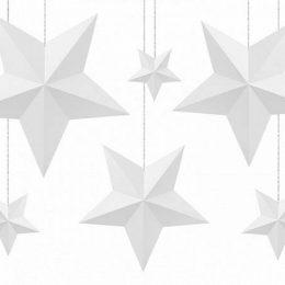 Διακοσμητικά Αστέρια λευκά (6 τμχ)