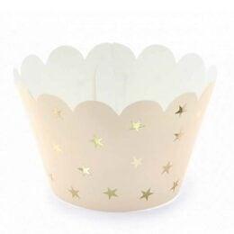 Χάρτινο περιτύλιγμα για cupcakes με χρυσά αστέρια (6 τεμ)