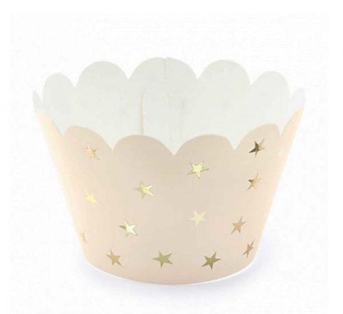Χάρτινο περιτύλιγμα για cup-cakes με χρυσά αστέρια (6 τεμ)