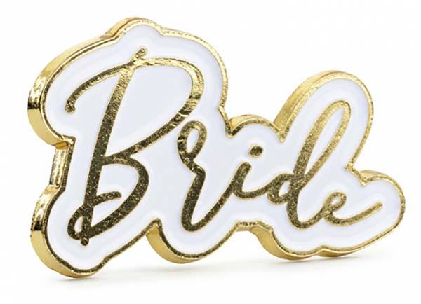"""Μεταλλική χρυσή καρφίτσα """"Bride"""""""