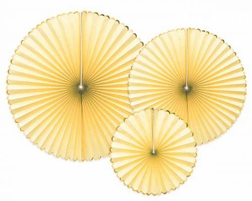 Σετ χάρτινες βεντάλιες κίτρινες (3 τεμ)