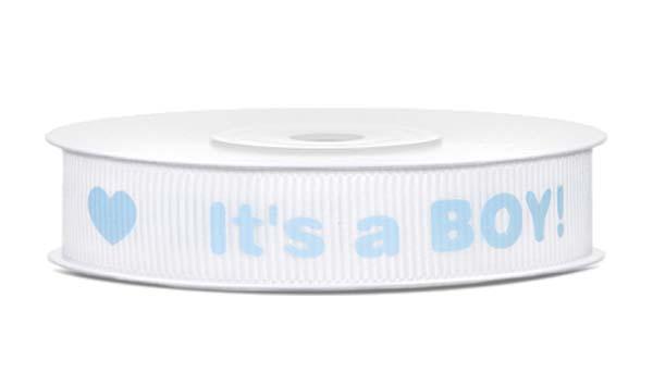 """""""It's a boy"""" γκρο κορδέλα (10 μ.)"""