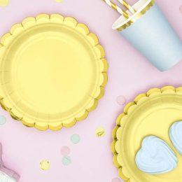 Πιάτα πάρτυ μικρά κίτρινο με χρυσό (6 τεμ)