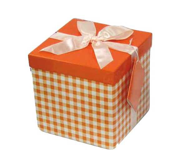 Πορτοκαλί Κουτί δώρου καρό