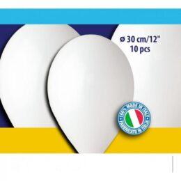 12″ Άσπρα λάτεξ μπαλόνια (10 τεμ)