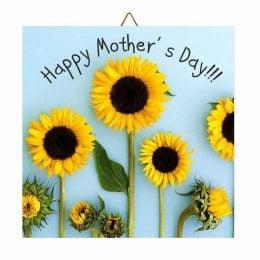 Ξύλινο καδράκι ηλιοτρόπια Happy Mother's Day